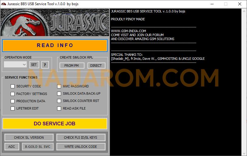 Jurrasic BB5 USB Service Tool v1.0.0