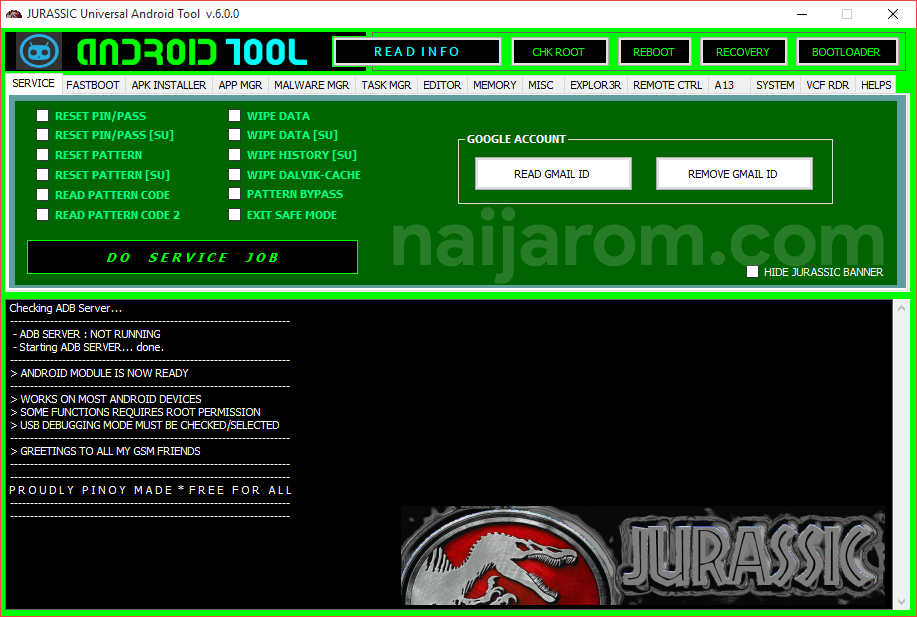 Jurassic Universal Android Tool v.6.0.0