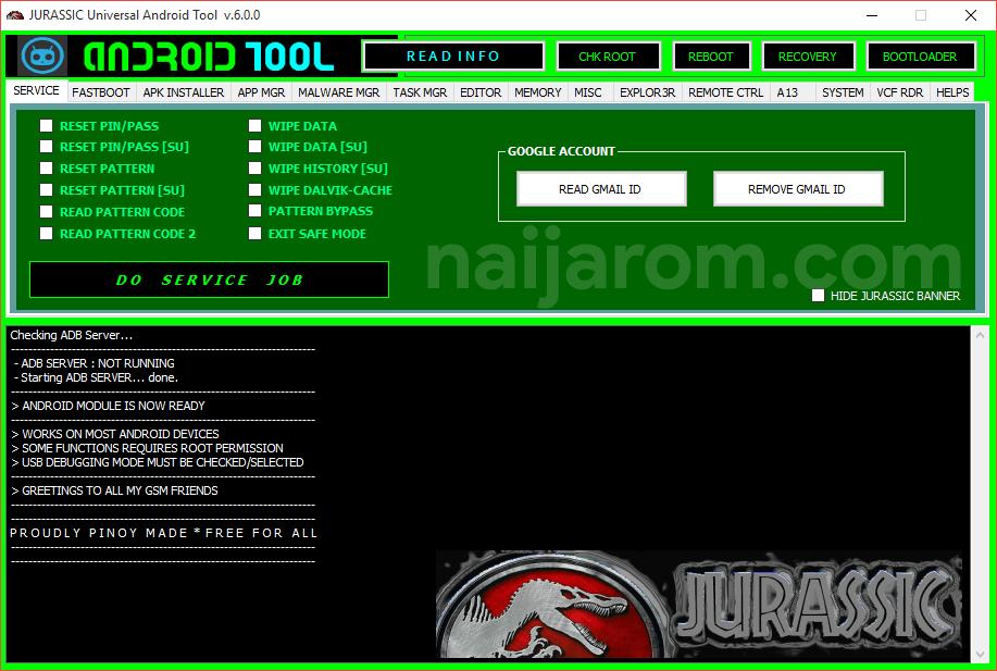 Jurassic Universal Android Tool v.6.0.0